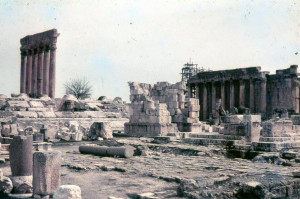 Vintage photo of the temple ruins at Baalbek