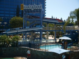 Monorails and pool at Downtown Disney